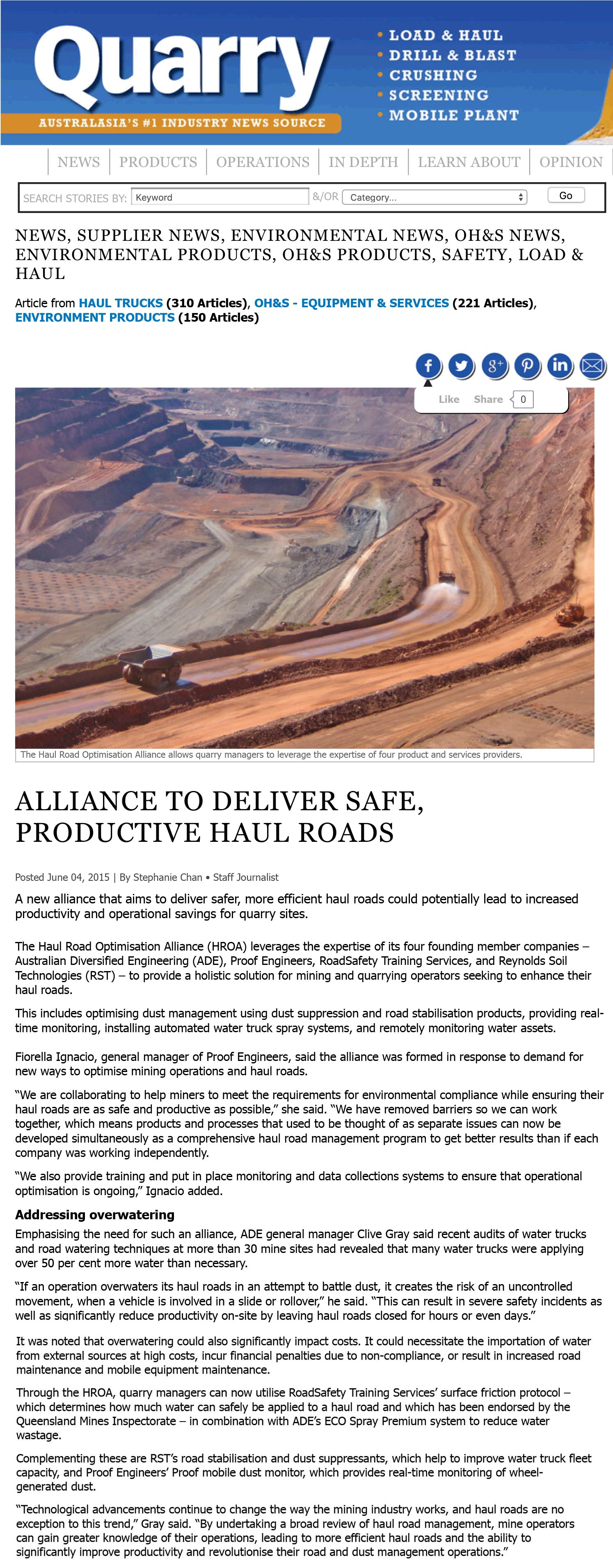 Alliance to deliver safe, productive haul roads - Quarry Magazine_ Quarry Mining and Aggregate News-1