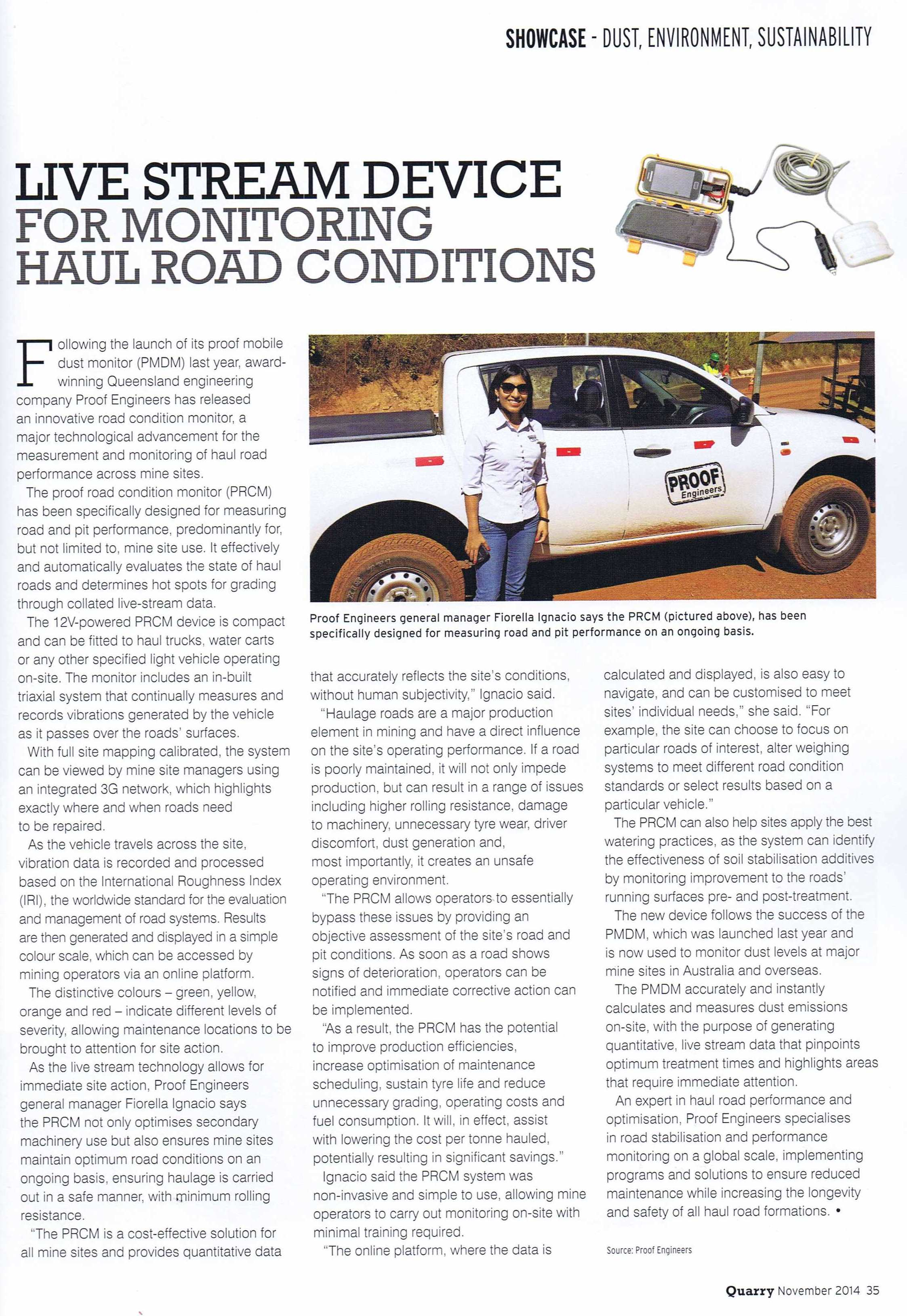 2014 NOV - Quarry - Proof Road Condition Monitor