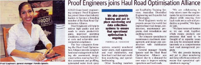 Proof engineers joins haul road optimisation alliance